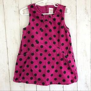 Gymboree Pink Black Polka Dot Corduroy Dress 2T